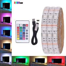 1M-5M RGB 5050 LED Strip Light 5V USB Color Changing TV PC Monitor Back Lighting