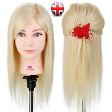100% Real Human Hair Hairdressing cut Training Head Make up Mannequin + Clamp UK
