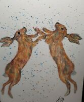 original watercolour Painting March Hares signed