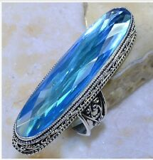 HUGE! ANTIQUE STYLE BLUE TOPAZ STONE 925 STERLING SILVER STATEMENT RING SIZE 9