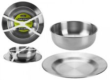 Summit Stainless Steel Plate + Bowl 2 Piece Set Camping Outdoor Hiking Travel