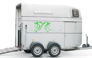 Aufkleber für Pferdeanhänger Pferde Köpfe verschiedene Größen Nr. 1 Grün