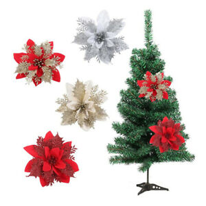 5X Christmas Flowers Poinsettia Glitter Décor Xmas Tree Hanging Ornament Party