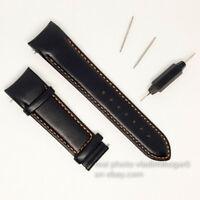 Tissot Black Leather orange line Strap 22mm Watch Band T035407 T035410A T035428A