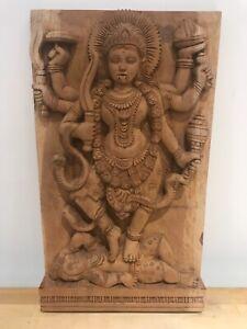 Kali Devi Wooden Wall Hanging Panel Hand Carved Durga Temple Art Goddess Statue