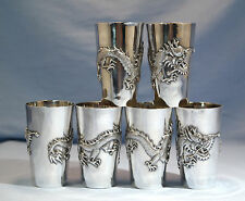 Chinese Sterling Silver Six Beakers/Cups Dragon Motif Circa 1900