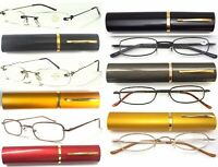 Easy Carry Tube Case Metal Reading Glasses Thin&Lightweight Flexible Arms Design