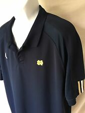 Adidas Men's Navy Blue Norte Dame NCAA Short Sleeve Polo Shirt XL