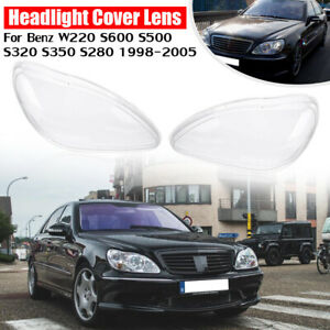 For 98-05 Benz W220 S600 S500 S350 Headlights Lens Replacement Cover Left+Right