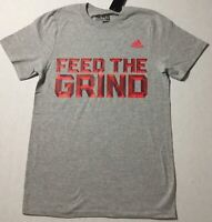 Adidas Men's Shirt The Go To Tee Shirt Feed The Grind Grey Red BU0580 Size L
