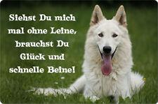 Weißer SCHÄFERHUND - A4 Alu Warnschild Hundeschild SCHILD Türschild - WSS 10 T12