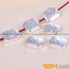 10 Pcs Tibetan Silver Rectangle Carved Spacer Beads Craft Findings 8x10mm