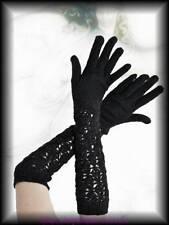 Lange Strick Handschuhe Ajour Spitze schwarz Gothic Burlesque Visual Lolita