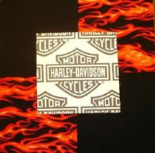 "30 6""HARLEY DAVIDSON Logo Red flames Black Quilt Fabric Squares"