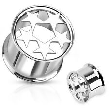 1 PAIR 0 GAUGE 316L SURGICAL STEEL FIVE STAR DOUBLE FLARED TUNNEL PLUGS