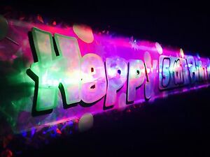 Personalised Happy Birthday flashing banner 1st-60th Party decorations Bunting