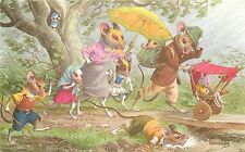 Mainzer Hartung Postcard 4903 Dressed Family of Mice on Stroll, Caught in Rain