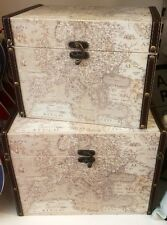 X2 Vintage Colonial World Atlas Storage Chest Trunk Boxes Faux Leather Linen NEW