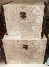 X2 VINTAGE coloniale mondo ATLAS stoccaggio petto Trunk caselle Faux Leather Biancheria Nuovo