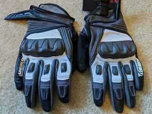 ICON MENS COMPOUND WHITE & GRAY MESH SHORT MOTORCYCLE GLOVES SIZE LARGE #G33