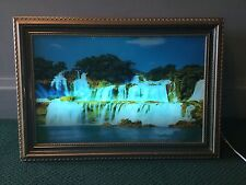 "VINTAGE KKI KKE LIGHTED MOVING WATERFALL PICTURE WITH SOUND 26"" X 18"" GOLD GILT"