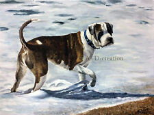 """INTO THE WATER"" original oil on canvas (30x40cm) signed German Boxer Dog"