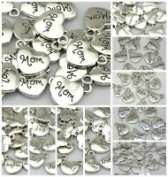 10 Pcs Quality Tibetan Silver Heart Pendants Charms Dad Mom Daughter Aunt Sister