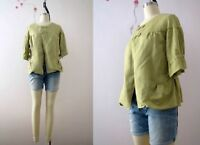 Avacado Green Linen Silk Drawstring Blouse Top S- M Buy 3+ Items for FREE Post