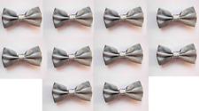LOT OF 10 Silver Men's Adjustable Bowties/Bow tie Tuxedo Wedding
