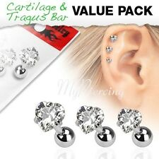 "3 Pcs 16G~1/4"" - 6mm Value Pack of Assorted Tragus Bar with Clear Hearts Gem Top"