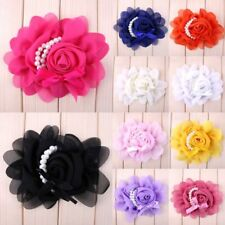 120P Chiffon Rose Pearl Fabric Pearl Flower Hair Accessories For Baby Headbands