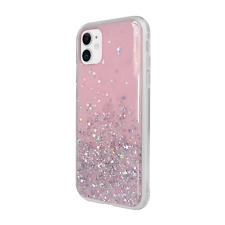 For iPhone 11 - Switcheasy Pink Starfield Quicksand Style Case