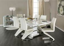 Modern 7 piece Dining Room Set Furniture Glossy White Rect Table & 6 Chairs Icek
