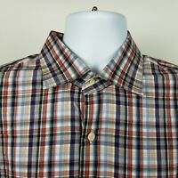 Peter Millar Mens Brown Blue Red Check Plaid Dress Button Shirt Size XL