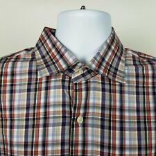 Peter Millar Mens Brown Blue Red Check Plaid Dress Button Shirt Size XL