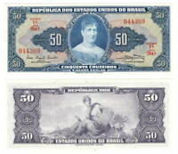 BRAZIL UNC 50 Cruzeiros Banknote (1961) P-169a Series 764A Paper Money