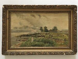 """Antique Framed Oil On Canvas Seaside Landscape  21"""" X 14"""" Signed Sarah Francis"""