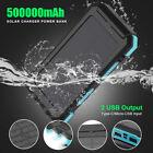 Waterproof Solar Power Bank Dual USB 500000mAh Portable External Battery Charger