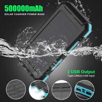 Waterproof 500000mAh Dual USB Portable Solar Charger Solar Power Bank For Phone