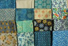 "16 Piece Fat Quarters Bundle ""Blue-Green #1"" Cotton~Quilt Top Block Fabric~Craft"
