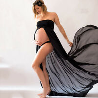 Pregnant Women Plain Bandeau Split Maxi Nursing Maternity Dress Photography Prop