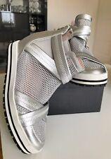 Todschicke Marc Cain Sneaker Plateau Hidden Heel Leder Silber Gr.38 Neuwertig