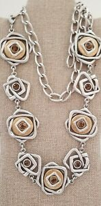 Gorgeous Abstract Silver Tone Chunky Metal Chain Belt w/Brown Crystal Accents
