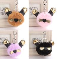 Fashion Women Fluffy Cute Cat Keychain Faux Rabbit Fur Ball Bag Key Ring Jewelry