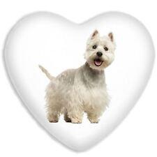 West Highland Terrier Cute Dog Faux Silk Heart Shaped Sofa Cushion
