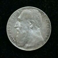 1901 BELGIUM SILVER 50 CENTIMES LEOPOLD II - GREAT CONDITION - XF CONDITION