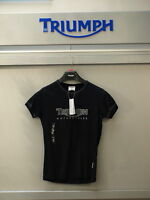 GENUINE Triumph Motorcycles Ladies Logo 1 T Shirt Black Upto NOW ONLY 99P