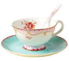Jusalpha Vintage Rose Bone China Tea Cup Spoon and Saucer Set TCS02