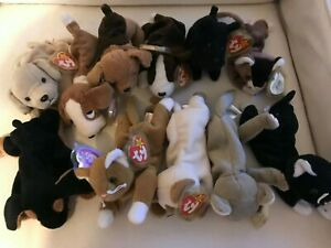 Retired Ty Beanie Buddies lot of 11 dogs and cats- Nip, Zip, Scottie, Doby