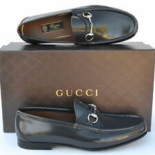 GUCCI New sz UK 9.5 US 10.5 Designer Horsebit Mens Leather Dress Loafers Shoes